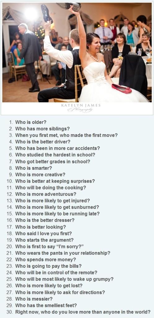 bruiloft spel vragen